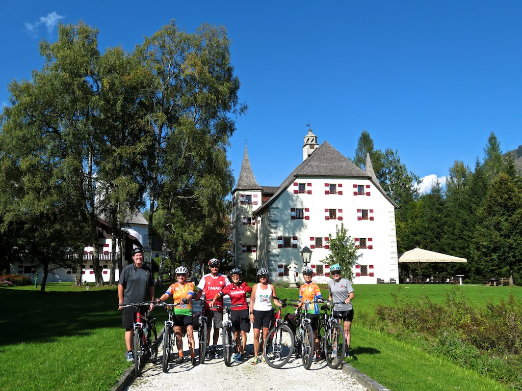 Bike tours in Austria at Salzburg - Our group at a lovely castle hotel