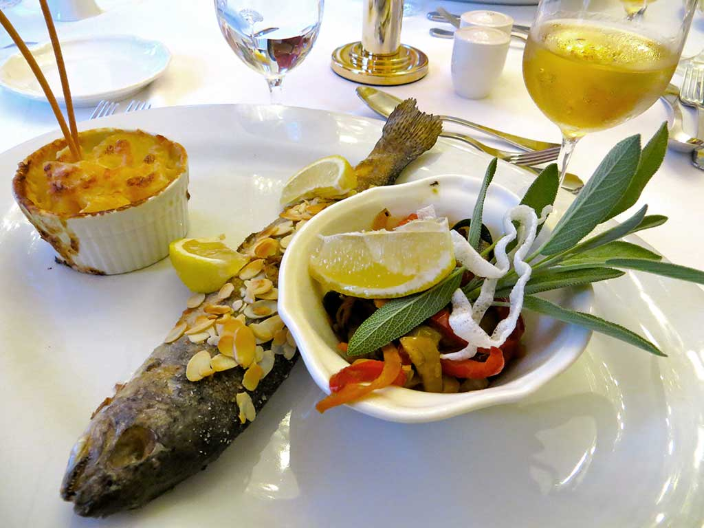Cycling tours in Hungary Austria and Italy - Grilled trout with potatoe cake and salad