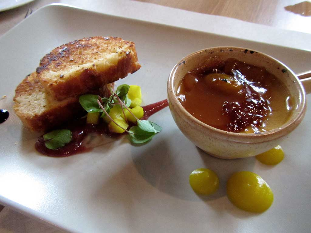 Cycling tours in Hungary Austria and Italy - Hungarian foie gras brulée in apple & cherry jam with cakes